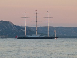 Mega Yacht passing our anchorage