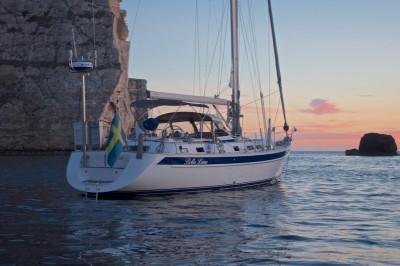 Bella Luna at anchor