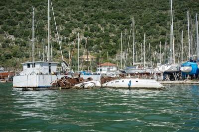 Sunken boats at Boat Yard