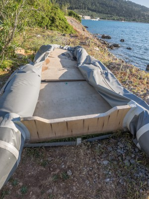 Cheap made inflatable.  Only used once to take refugees from Turkey to Greece