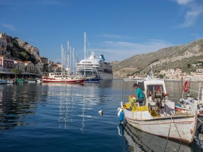 Cruise ship in Symi