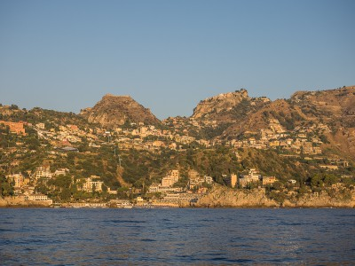 Castelmola and Taormina seen from the boat