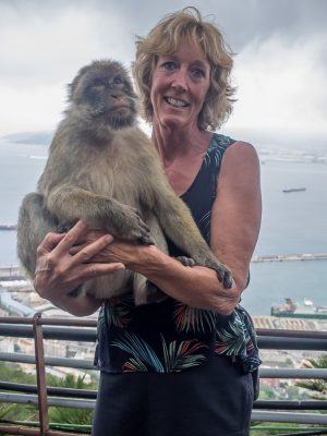 Vickie bonding with the monkeys