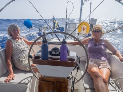 Iris and Vickie enjoying the sail.